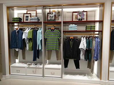 clothing-display-racks-of-steel-and-wood-matching
