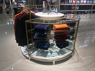 Round Display Table and Clothing Display Racks